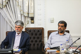 Iran's Minister of Culture and Islamic Guidance Abbas Salehi (L) is present in the session of Supreme Council of Cultural Revolution, Tehran, Iran, July 9, 2019.