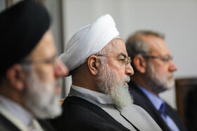 Iranian President Hassan Rouhani (M) is present in the session of Supreme Council of Cultural Revolution, Tehran, Iran, July 9, 2019.