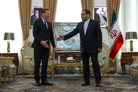 Meeting beetwen French President Emmanuel Macron's top diplomatic advisor Emmanuel Bonne (L) and secretary of Iran's Supreme National Security Council Ali Shamkhani, Tehran, Iran, July 10, 2019.