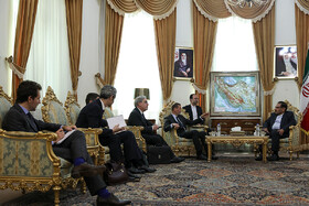 Meeting beetwen French President Emmanuel Macron's top diplomatic advisor Emmanuel Bonne and secretary of Iran's Supreme National Security Council Ali Shamkhani, Tehran, Iran, July 10, 2019. The French official's visit to Iran was arranged due to the recent telephone conversation between Iranian President Hassan Rouhani and his French counterpart Emmanuel Macron.