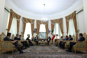 Meeting beetwen French President Emmanuel Macron's top diplomatic advisor Emmanuel Bonne and secretary of Iran's Supreme National Security Council Ali Shamkhani, Tehran, Iran, July 10, 2019.