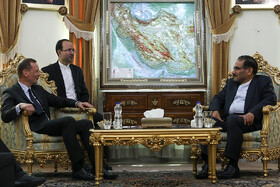 Meeting beetwen French President Emmanuel Macron's top diplomatic advisor Emmanuel Bonne (L) and secretary of Iran's Supreme National Security Council Ali Shamkhani, Tehran, Iran, July 10, 2019. The French official's visit to Iran was arranged due to the recent telephone conversation between Iranian President Hassan Rouhani and his French counterpart Emmanuel Macron.