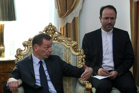 French President Emmanuel Macron's top diplomatic advisor Emmanuel Bonne is seen in his meeting with the secretary of Iran's Supreme National Security Council Ali Shamkhani (not pictured), Tehran, Iran, July 10, 2019.