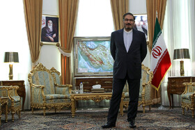 Secretary of Iran's Supreme National Security Council Ali Shamkhani is seen in his meeting with French President Emmanuel Macron's top diplomatic advisor Emmanuel Bonne (not pictured), Tehran, Iran, July 10, 2019.