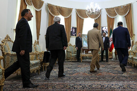 On the sidelines of the meeting between French President Emmanuel Macron's top diplomatic advisor Emmanuel Bonne and secretary of Iran's Supreme National Security Council Ali Shamkhani, Tehran, Iran, July 10, 2019. The French official's visit to Iran was arranged due to the recent telephone conversation between Iranian President Hassan Rouhani and his French counterpart Emmanuel Macron.