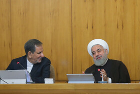 """Iranian President Hassan Rouhani (R) and Iranian First Vice President Es'haq Jahangiri are present in Iran's cabinet session, Tehran, Iran, July 10, 2019. During this session, Iranian President Hassan Rouhani described the United Kingdom's seizure of Iranian tanker a childish, cheap and wrong move, and said, """"The British are the initiator of insecurity in seas and we hope that they do not repeat this, because it will spread insecurity throughout the world, and to everybody's detriment""""."""