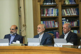 """Head of Iran's Atomic Energy Organization Ali Akbar Salehi (M) is present in Iran's cabinet session, Tehran, Iran, July 10, 2019. During this session, Iranian President Hassan Rouhani described the United Kingdom's seizure of Iranian tanker a childish, cheap and wrong move, and said, """"The British are the initiator of insecurity in seas and we hope that they do not repeat this, because it will spread insecurity throughout the world, and to everybody's detriment""""."""