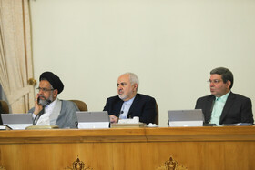 """Iranian Foreign Minister Mohammad Javad Zarif (M) and Iran's Intelligence Minster Mahmoud Alavi (L) are present in Iran's cabinet session, Tehran, Iran, July 10, 2019. During this session, Iranian President Hassan Rouhani described the United Kingdom's seizure of Iranian tanker a childish, cheap and wrong move, and said, """"The British are the initiator of insecurity in seas and we hope that they do not repeat this, because it will spread insecurity throughout the world, and to everybody's detriment""""."""