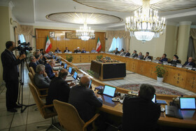 """Iran's weekly cabinet session, Tehran, Iran, July 10, 2019. During this session, Iranian President Hassan Rouhani described the United Kingdom's seizure of Iranian tanker a childish, cheap and wrong move, and said, """"The British are the initiator of insecurity in seas and we hope that they do not repeat this, because it will spread insecurity throughout the world, and to everybody's detriment""""."""