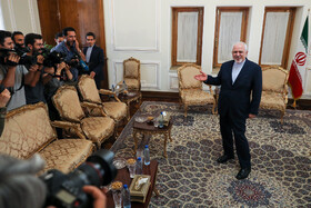 Iranian Foreign Minister Mohammad Javad Zarif is seen before his meeting with Belarusian Deputy Minister of Foreign Affairs Andrei Dapkiunas, Tehran, Iran, July 10, 2019.