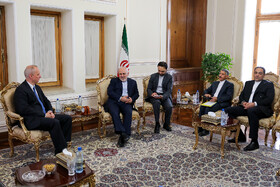 Meeting between Iranian Foreign Minister Mohammad Javad Zarif and Belarusian Deputy Minister of Foreign Affairs Andrei Dapkiunas, Tehran, Iran, July 10, 2019.