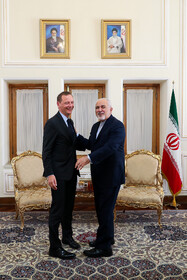 Meeting between Iranian Foreign Minister Mohammad Javad Zarif (R) and French President's top diplomatic advisor Emmanuel Bonne (L), Tehran, Iran, July 10, 2019.