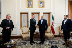 Meeting between Iranian Foreign Minister Mohammad Javad Zarif (2nd, R) and French President's top diplomatic advisor Emmanuel Bonne (2nd, L), Tehran, Iran, July 10, 2019.
