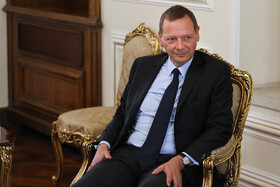 French President's top diplomatic advisor Emmanuel Bonne is seen in his meeting with Iranian Foreign Minister Mohammad Javad Zarif, Tehran, Iran, July 10, 2019.
