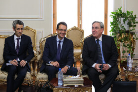 On the sidelines of the meeting between Iranian Foreign Minister Mohammad Javad Zarif and French President's top diplomatic advisor Emmanuel Bonne, Tehran, Iran, July 10, 2019.