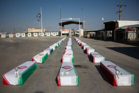 Bodies of 44 Iranian martyrs of Iran's sacred defense arrive in Iran, July 11, 2019. Iran's sacred defense refers to 1980-1988 Iran-Iraq War during which around 200 thousand Iranian soldiers laid down their lives in service of their countries.
