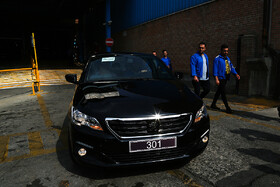 Production line of Peugeot 301 sedan is inaugurated in Tehran, Iran, July 15, 2019. Some 300 Iranian parts suppliers have been employed for manufacturing parts of this passenger car.