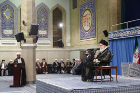 Iran's Supreme Leader Ayatollah Ali Khamenei delivers a speech during his meeting with Leaders of Friday Prayers from across the country, Tehran, Iran, July 16, 2019. The meeting was held on the event of the 40th anniversary of the first Friday Prayers organized after the Islamic Revolution in August 1979.