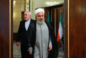 Iranian President Hassan Rouhani (R) and Iranian Foreign Minister Mohammad Javad Zarif are seen before the meeting with Omani Foreign Minister Yusuf bin Alavi, Tehran, Iran, July 28, 2019.