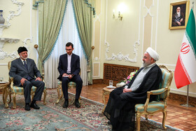Meeting between Iranian President Hassan Rouhani (R) and Omani Foreign Minister Yusuf bin Alavi (L), Tehran, Iran, July 28, 2019.