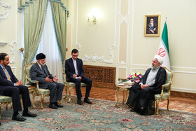Meeting between Iranian President Hassan Rouhani (R) and Omani Foreign Minister Yusuf bin Alavi (2nd, L), Tehran, Iran, July 28, 2019.