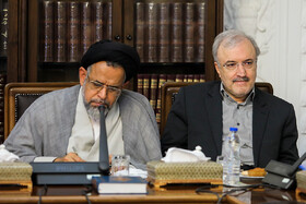 Minister of Intelligence Mahmoud Alavi (L) and Minister of Health Saeed Namaki are present in the meeting of the Drug Control Headquarters under the chair of Iranian President Hassan Rouhani, Tehran, Iran, July 30, 2019.