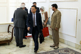 Head of the International Liaison Department of the Communist Party of China Song Tao and his accompanying delegation are welcomed by Iranian Foreign Minister Mohammad Javad Zarif, Tehran, Iran, July 30, 2019.