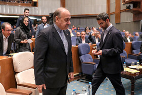Minister of Youth Affairs and Sports Masoud Soltanifar (L) and Iran's Information Technology and Telecommunications Minister Mohammad Javad Jahromi Azari are present in the celebration of Iran's National Marriage Day in Tehran, Iran, August 3, 2019.