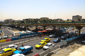 End of Gisha Bridge, Tehran, Iran, August 4, 2019. Gisha Bridge, built in 1974 in Gisha Neighbourhood of Tehran, was permanently closed due to its aging infrastructure and is going to be replaced with an underpass tunnel. The last remaining parts of the Bridge were removed in previous weeks.
