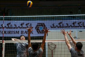 Training session of Iranian boys' U19 volleyball team, Tehran, Iran, August 4, 2019. Before the training session of Iran Men's National Volleyball team, Iranian boys' U19 volleyball team had held their training session.