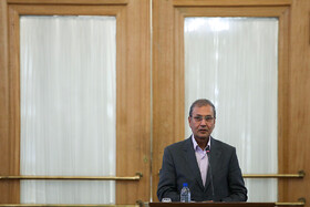 """Iran's government spokesman Ali Rabiei delivers a speech in the presence of Iranian Foreign Minister Mohammad Javad Zarif, Tehran, Iran, August 5, 2019. During the press conference of Iranian Foreign Minister with international and local media, Mr Zarif said, """"Iran will never purchase its security and progress. Our security and progress stem from our own people. No matter how much pressure they put on us, we walked on our own path and succeeded because we relied on our people""""."""