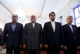 """Iranian Foreign Minister Mohammad Javad Zarif (2nd, L) is seen before attending a news conference with international and local media, Tehran, Iran, August 5, 2019. During the press conference with international and local media, Iranian Foreign Minister said, """"Iran will never purchase its security and progress. Our security and progress stem from our own people. No matter how much pressure they put on us, we walked on our own path and succeeded because we relied on our people""""."""