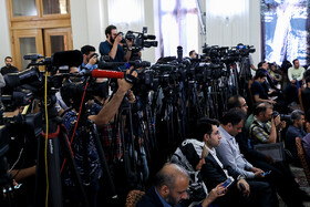 """On the sidelines of Iranian Foreign Minister's news conference, Tehran, Iran, August 5, 2019. During the press conference with international and local media, Iranian Foreign Minister Mohammad Javad Zarif said, """"Iran will never purchase its security and progress. Our security and progress stem from our own people. No matter how much pressure they put on us, we walked on our own path and succeeded because we relied on our people""""."""