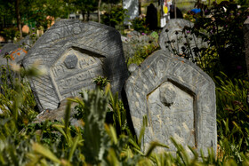 Historic Sefid Chah Cemetery, Mazandaran, Iran, August 5, 2019. A special feature of Sefid Chah Cemetery is its upright headstones in the historic part of the cemetery. Each of the headstones has been carved according to its antiquity, the culture of its time, the job and the character of the person who has been buried there.