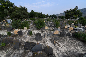 Historic Sefid Chah Cemetery, Mazandaran, Iran, August 5, 2019. According to the researches on this cemetery, there is a considerable amount of lime which causes the color of its soil to turn into white and this amount of lime in the soil causes the bodies buried there not to be affected by decomposition.