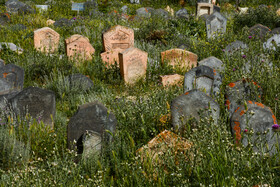Historic Sefid Chah Cemetery, Mazandaran, Iran, August 5, 2019. Sefid Chah Cemetery is located in Sefid Chah Village of Behshahr County in Mazandaran Province. It is a historic cemetery for Muslims, which dates back to 1200 years ago.