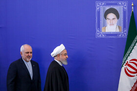 Iranian President Hassan Rouhani (R) and Iranian Foreign Minister Mohammad Javad Zarif are seen before their meeting starts, Tehran, Iran, August 6, 2019.