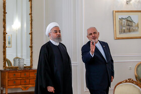 Iranian President Hassan Rouhani (L) and Iranian Foreign Minister Mohammad Javad Zarif are seen before their meeting starts, Tehran, Iran, August 6, 2019.