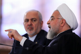 Iranian President Hassan Rouhani delivers a speech during his meeting with Iranian Foreign Minister Mohammad Javad Zarif, Tehran, Iran, August 6, 2019.