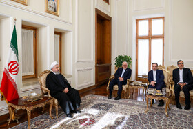 Meeting between Iranian President Hassan Rouhani (L), Iranian Foreign Minister Mohammad Javad Zarif (2nd, L) and other officials of Foreign Ministry, Tehran, Iran, August 6, 2019.