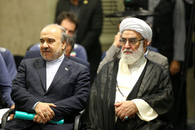 Iranian Minister of Sports and Youth Affairs Masoud Soltanifar (L) is present during the meeting between Iran's Supreme Leader Ayatollah Ali Khamenei, Olympiad medalists and Iran youth national volleyball team, Tehran, Iran, August 7, 2019.