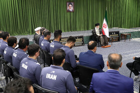 Iran's Supreme Leader Ayatollah Ali Khamenei delivers a speech during his meeting with Olympiad medalists and Iran youth national volleyball team, Tehran, Iran, August 7, 2019.