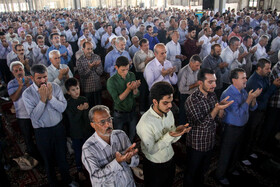 Offering prayers of Eid-al Adha in Semnan, Iran, August 12, 2019. Eid al-Adha also known as Eid Qurban, is an Islamic holiday which commemorates God's testing of Abraham's faith by commanding him to sacrifice his son, Ismail.