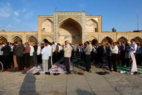 Offering prayers of Eid-al Adha in Qazvin, Iran, August 12, 2019. Eid al-Adha also known as Eid Qurban, is an Islamic holiday which commemorates God's testing of Abraham's faith by commanding him to sacrifice his son, Ismail.