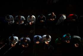 Offering prayers of Eid-al Adha at Fatemeh Masumeh Holy Shrine, Qom, Iran, August 12, 2019. Eid al-Adha also known as Eid Qurban, is an Islamic holiday which commemorates God's testing of Abraham's faith by commanding him to sacrifice his son, Ismail.