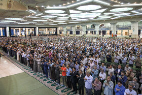Offering prayers of Eid-al Adha at Tehran's Imam Khomeini Mosalla, Iran, August 12, 2019. Eid al-Adha also known as Eid Qurban, is an Islamic holiday which commemorates God's testing of Abraham's faith by commanding him to sacrifice his son, Ismail.