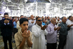 Offering prayers of Eid-al Adha at Imam Reza Holy Shrine, Mashhad, Iran, August 12, 2019. Eid al-Adha also known as Eid Qurban, is an Islamic holiday which commemorates God's testing of Abraham's faith by commanding him to sacrifice his son, Ismail.