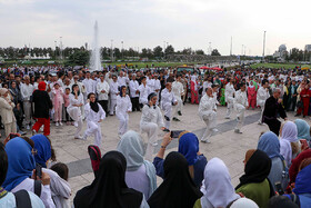 Celebrating World Wushu-Kungfu Day at Azadi Square, Tehran, Iran, August 12, 2019.