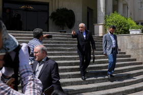 """Iranian Foreign Minister Mohammad Javad Zarif (2nd, R) is seen on the sidelines of Iran's weekly cabinet session, Tehran, Iran, August 14, 2019. Speaking on Wednesday in a cabinet session, President Hassan Rouhani said, """"All propaganda about a new coalition in the Persian Gulf and the Sea of Oman are impractical and superficial. Without a doubt, if a part of this propaganda is put into action, they will not be beneficial for the security of the region""""."""