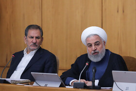 """Iranian President Hassan Rouhani delivers a speech during Iran's weekly cabinet session, Tehran, Iran, August 14, 2019. Speaking on Wednesday in a cabinet session, President Hassan Rouhani said, """"All propaganda about a new coalition in the Persian Gulf and the Sea of Oman are impractical and superficial. Without a doubt, if a part of this propaganda is put into action, they will not be beneficial for the security of the region""""."""